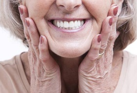 Close-up of older woman's smile